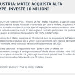 Borsa Italiana - Matec industries acquisisce Alfa Pompe