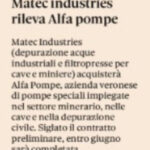 Il Sole 24 Ore - Matec Industries acquisisce Alfa Pompe